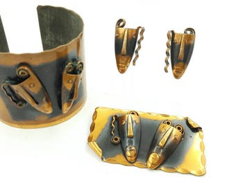 Francisco Rebajes  Designer Vintage Copper  Brooch Bracelet and Earrings The Masks