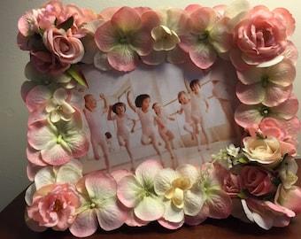 Charming PINK silk flower frame