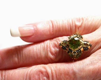 """Peridot ring, peridot accent ring, peridot cocktail ring, statement ring, green s 6   """"Midnight at the oasis"""""""
