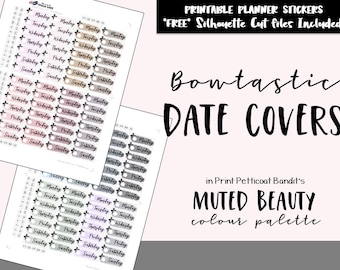 Muted Beauty Bowtastic Date Covers: Printable Planner Functional Date Cover Ups / Bow Functional Printable Planner Stickers / Cut Files