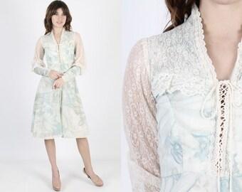 Gunne Sax Bohemian Dresss Corset Rennaisance Fair Boho Wedding Dress Vintage 70s Dress Prairie Sheer Ivory Floral Hippie Midi Mini Dress
