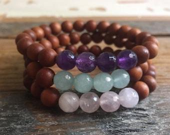 Sandalwood + Choice of Amethyst, Rose Quartz or Amazonite | Spiritual Junkies | Yoga + Meditation | Stackable Mala Bracelet