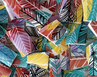 Mosaic Tiles--Feathers-- Colorful--50 Tiles
