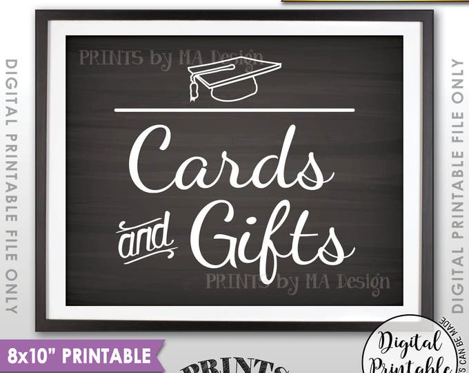"""Cards & Gifts Graduation Party Sign, Cards and Gifts for the Graduate, Gifts for the Grad, 8x10"""" Chalkboard Style Printable Instant Download"""