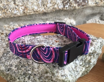Purple Zesty Flower Fabric Dog Collar Fully Lined XS-XL