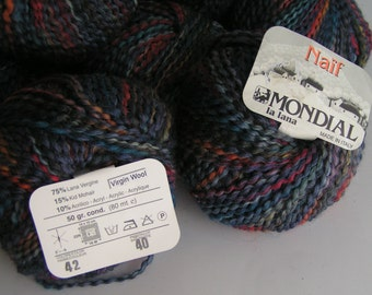 YARN MONDIAL Clearance Sale Naif Color 42 Lot 40  Approx 50 grams approx 80 meters wool kid
