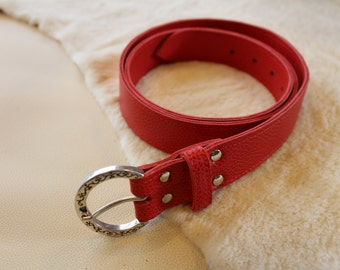 red leather belt; women leather belt. Red belt; women belt. AND / 36
