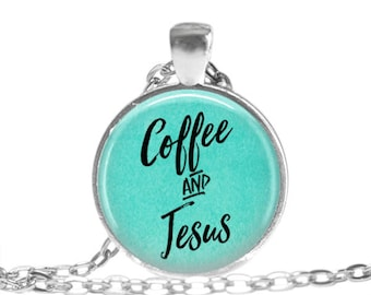 Coffee and Jesus Coffee Necklace Christian Jewelry Coffee Lover Christian Gift Jesus Jewelry Coffee Keychain Inspirational gift Mothers Day