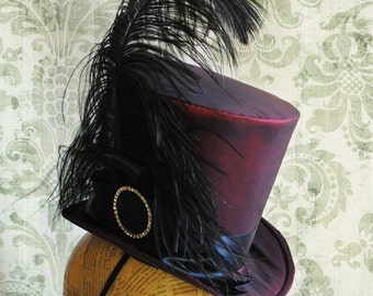 Victorian WOMEN's Top Hat,Gothic Burgundy Top Hat,Gothic Tea-party Top Hat-Custom-Made to Order