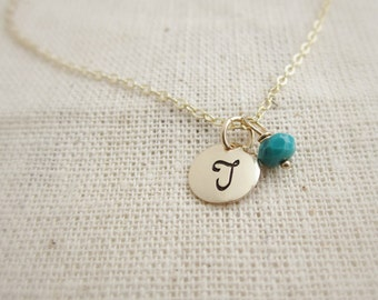 Tiny gold initial necklace Gift for her December birthstone necklace personalized birthstone, turquoise necklace, December birthday gift