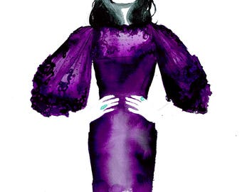 Royally Purple, print from original watercolor and mixed media fashion illustration by Jessica Durrant