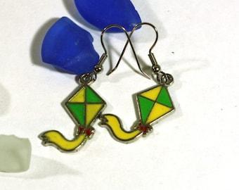 Green and Yellow Kite Enamel Charm Earrings - Kids Fun Earrings - Fashion Jewelry Accessories