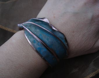 Copper cuff with turquoise patina