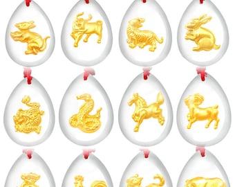 24K Gold Foil Crystal Zodiac / Cross Pendant / Lucky Charm/ Token / Gift / Souvenir