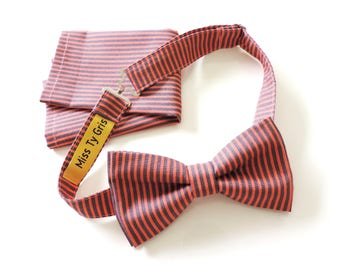 bow tie and Pocket gray coral stripe