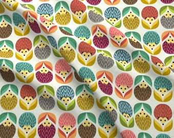 Woodland Hedgehog Fabric - Hedgehogs Flowers By Gaiamarfurt - Mod Woodlad Hedgehog Cotton Fabric By The Yard With Spoonflower