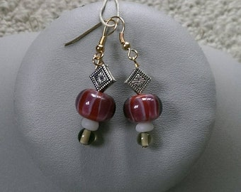 SALE Red Rose Lampwork Earrings