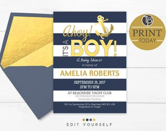 AHOY its a Boy Baby Shower Invitation, Instant Download, Boy Baby Shower Invitation, Nautical Baby Shower invitation, Navy Gold Baby, 0315