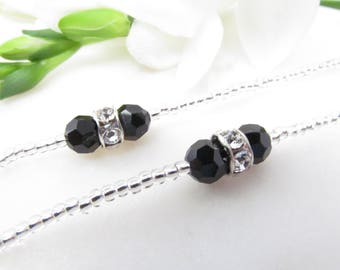 Silver eyeglass chain with black and silver Swarovski crystals beaded eye glass leash cord reading glasses