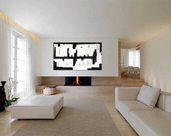 """Extra Large Abstract Canvas Painting Black and White Acrylic 65"""" x 36"""" Original Modern Contemporary Minimalist Wall Art Huge"""