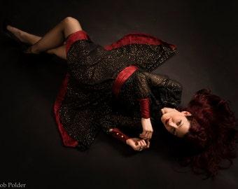 red,gold & black dress