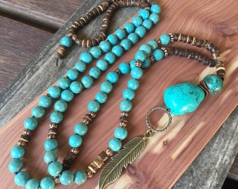 Turquoise Necklace Boho Necklace Feather Necklace Hand Knotted Necklace Women's Long Necklace Bohemian Jewelry Boho Chic Necklace