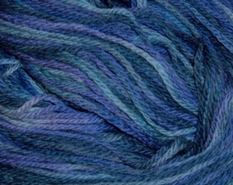 Hand painted Peruvian Wool Yarn LILAC BOUQUET blue purple teal