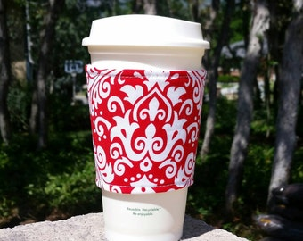 FREE SHIPPING UPGRADE with minimum -  Coffee cozies / fabric coffee cozy / coffee sleeve / coffee cup holder -- Bright red and white damask