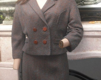 1950s/60s Suit, Cropped Jacket, Elbow Sleeves, Metal Zipper, Jackie O Classic Two Pc. Suit, Mad Men, Secretary