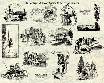 Vintage Outdoor Sports and Activities Illustrations Printable Outdoor Clipart Outdoor Vector Vintage Outdoors Clipart Copyright Free