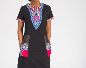 African Dashiki Print T-shirt Dress with big Pockets