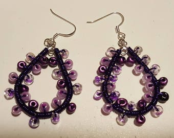 Purple Bead and Silver Wire Wrap Earrings