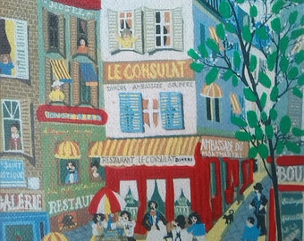 Oil Painting /French art work/French Market /French town/1970s