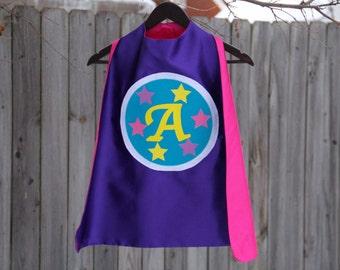 Custom GIRLS SUPERHERO CAPE -  Personalized initial Kid cape - Fast Shipping