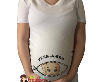 Funny maternity shirt t shirt PEEK A BOO include cm251