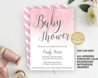Pink Watercolor INSTANT DOWNLOAD Girl Baby Shower Invite, Baby Shower Invitation, Girl Baby Shower, Printable Invitation, Baby Girl Shower