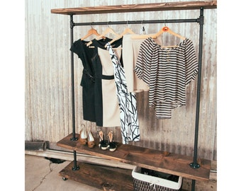 IRD - Triple Shelf Industrial Clothing Rack -Rustic Furniture - Pipe Garment Rack - Clothes Rack - Retail Display