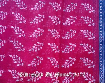 Pink Indian Cotton Saree Fabric Floral Print, Sari Fabric With Border Design, Indian Fabric,  Screen Printed Soft Cotton Fabric By The Yard