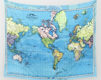 World Mercator Map Fleece Blanket throw - cozy, sofa, couch, bed, travel decor, minimal, soft, blue, winter, warm, wanderlust