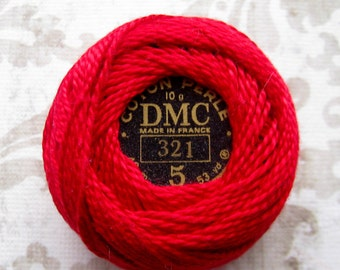 DMC 321 Red Perle Cotton Thread Size 5