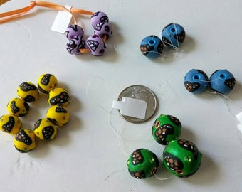 Butterfly Polymer Clay Beads with Swarovski chatons -20 total