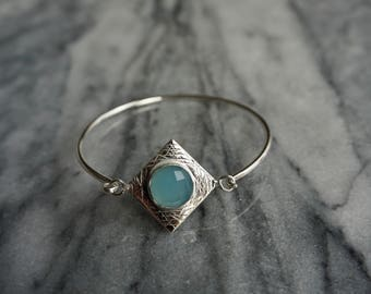 Blue Chalcedony sterling silver bangle bracelet