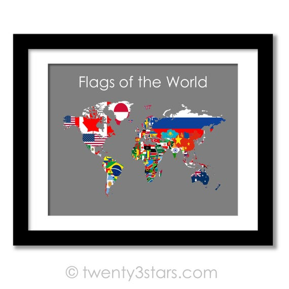 Flaggen Der Weltkarte Poster, Flaggen Der Welt Karte, Flagge Karte Kunst,  Flagge Wandkunst, Land Flagge Kunst, Flaggen Von Jeder Nation, Weltkarte  Flags ...