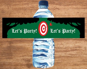 Instant Download Bow and Arrow Robin Hood Archery Party Water Bottle Labels