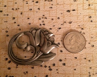 FREE SHIPPING! Art nouveau pewter brooch