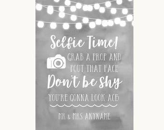 Grey Watercolour Lights Selfie Photo Prop Personalised Wedding Sign