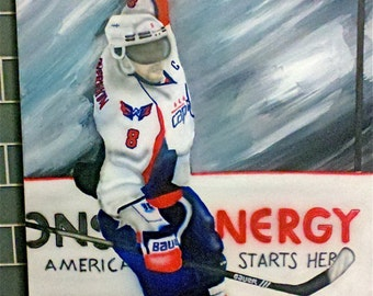 "Paint of Alex Ovechkin, on canvas 48""x 24""x 1.5"" with acrylic paint"