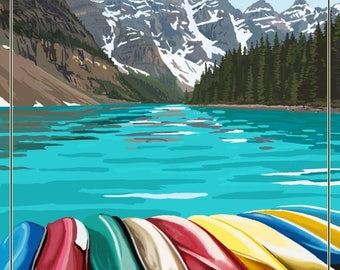 Banff, Alberta, Canada - Moraine Lake & Canoes - Lantern Press Artwork (Art Print - Multiple Sizes Available)