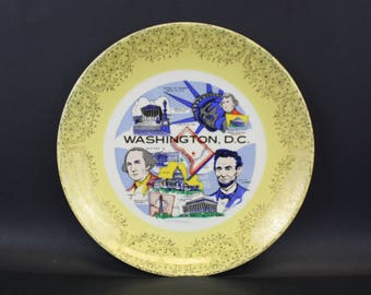 Vintage Yellow Edged Washington DC State Souvenir Plate (E8568)