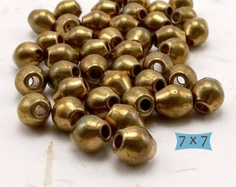 Solid Brass Bicone Beads--10 Pcs.| 26-77BR-10